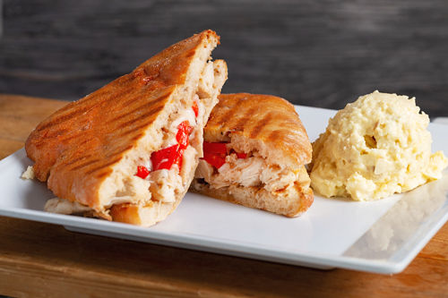 Java Bakery Cafe_ Grilled Chicken Toasted with Red Peppers Panini